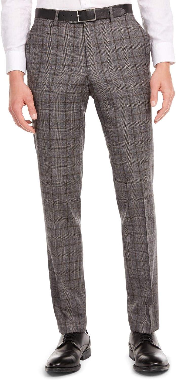 bar III Mens Gray Plaid Slim Fit Wool Blend Suit Separate 30W/ 30L