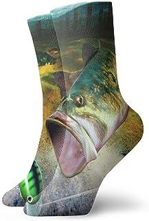 tyui7, Calcetines de compresión antideslizantes para pesca baja Calcetines deportivos acogedores de 30 cm para hombres, mujeres, niños