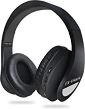 FX-Viktaria Over Ear Headphones, Headset with Microphone, Foldable and Lightweight, Support TF Card, USB Charging Headset, MP3 Mode and FM Radio for Cellphones, Laptop- Black and White