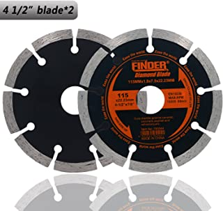 "Finder General Purpose Premium Segmented Diamond Blade For Tile Brick Concrete Field Stone Masonry Materials Wet Dry Cutting (2 Pack of 4 1/2"" Blade)"