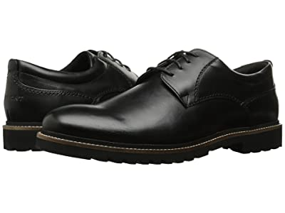 Rockport Marshall Plain Toe Oxford (Black Leather) Men