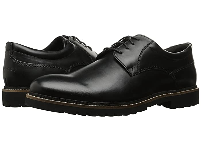 Rockport  Marshall Plain Toe Oxford (Black Leather) Mens Lace up casual Shoes