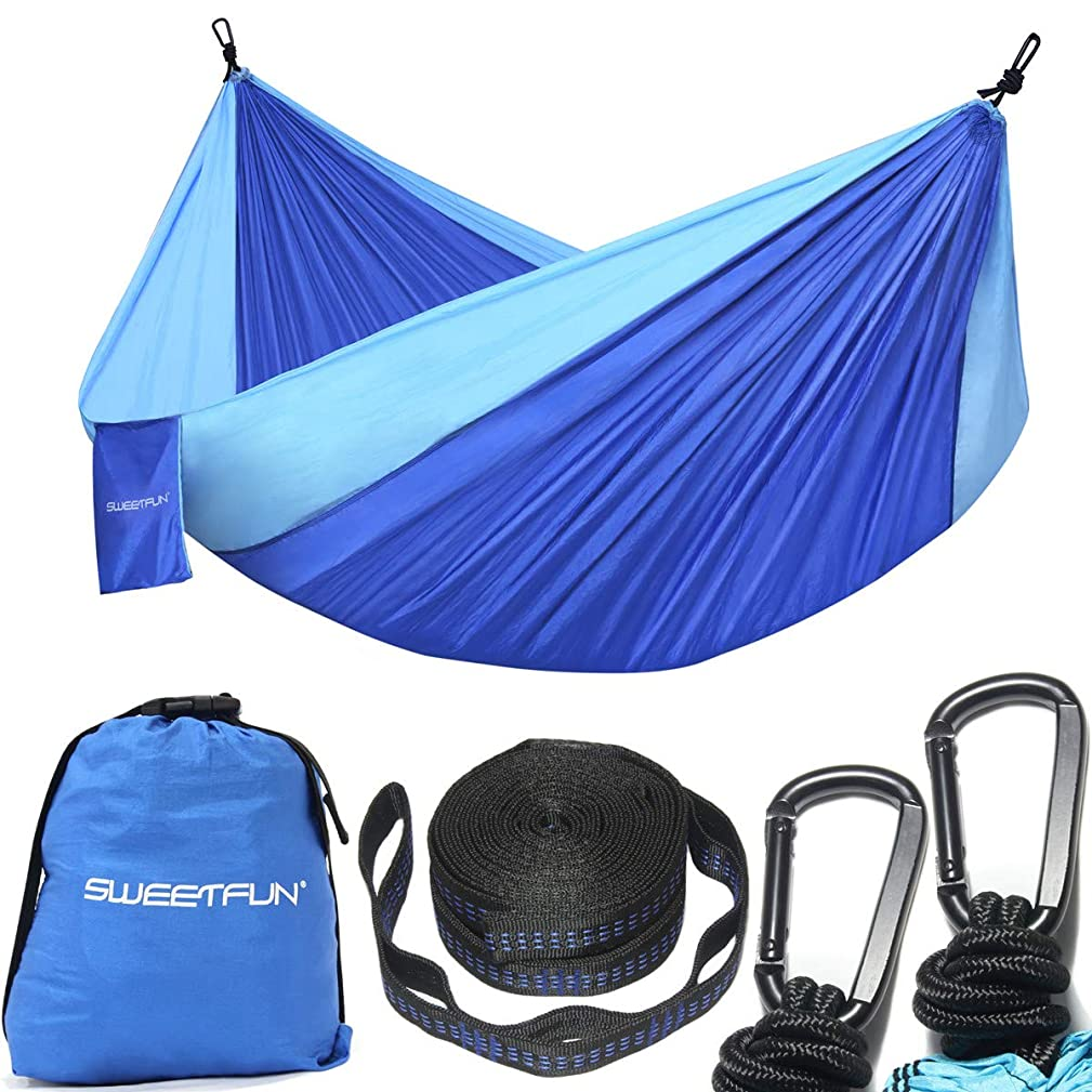 Sweetfun Double Camping Hammock with Tree Straps - Lightweight Nylon Parachute Hammocks Portable for Outdoor,Backpacking,Beach and Travel