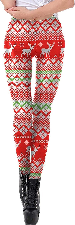 Sevozimda Mujer Navidad Leggings Pantalones Skinny Stretch Xmas Imprimir Pantalones