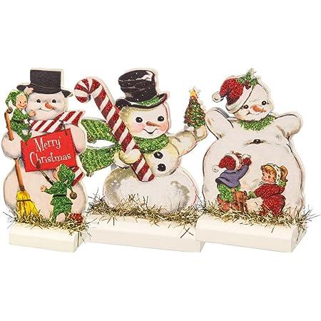 Primitives By Kathy Vintage Christmas Stand Up Set Set Of 3 Retro Snowmen 3 Piece Home Kitchen