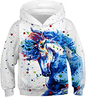 Cute Car and Tree Pattern Student Hoody Sweater Pullover Drawstring Pocket Novelty Coat for Students
