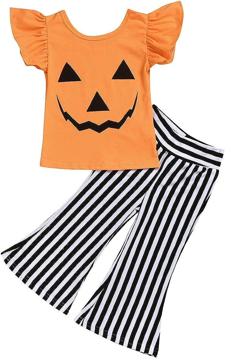 Toddler Kids Baby Girl Halloween Outfits Flutter Sleeve Pumpkin Shirts + Striped Bell Bottom Pants Clothes Set
