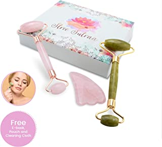 Natural Rose Quartz Roller For Face,Authentic Jade Roller Kit   3-in-1 Anti-Aging Facial Massager Set for Natural Skin Firming Therapy   Crystal Stone Gua Sha to Rejuvenate the Skin on Face & Neck