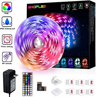 Led Strip Lights 16.4ft Waterproof RGB Color Changing Light Strips, 5050 Black LED Tape Light with 44 Keys RF Remote and 12V Power Supply for Kitchen, Party, Bedroom
