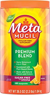 Metamucil Premium Blend, Natural Psyllium Husk Powder Fiber Supplement, Plant Based, Sugar-Free with Stevia, 4-in-1 Fiber ...