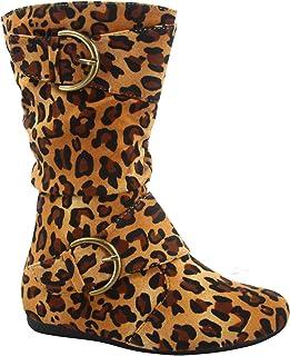 Link Klein-70k Girl's Kid's Faux Suede Two Buckle Zipper Flat Heel Mid Calf Slouchy Boot Shoes (10 B(M) US, Leopard)