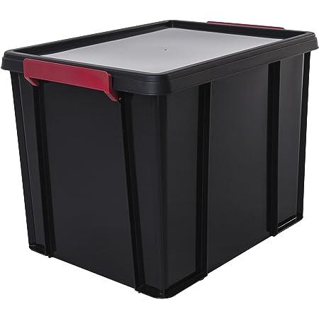 Amazon Basics 102787 Boîtes de Rangement Empilable avec Couvercle, Plastique, Noir, 38 Litres