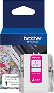 "Brother Genuine CZ-1004 Continuous Length 1"" (1.0"") 25 mm Wide x 16.4 ft. (5 m) Long Label Roll Featuring ZINK Zero Ink Technology"