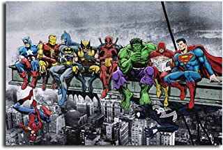 HHGaoArt Super Heroes Poster Lunch ATOP A Skyscraper Print Canvas Painting Poster Modern Wall Art Picture for Living Room Home Decor 36x24inch (With Framed)