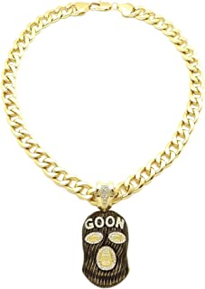 Stone Stud Full Face Ski Mask Goon Pendant with 11mm Cuban Chain Necklace