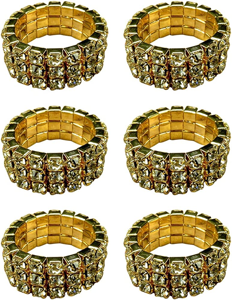Round Stretch Ring, Gold Tone Adjustable Rings, 3 Rows Diamond Eternity Band, Fashion Jewelry.