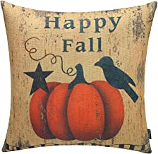 TRENDIN 18 X 18 Vintage Happy Fall Pumpkin Black Bird Cotton Linen Pillow Case Cushion Cover (PL037TR)