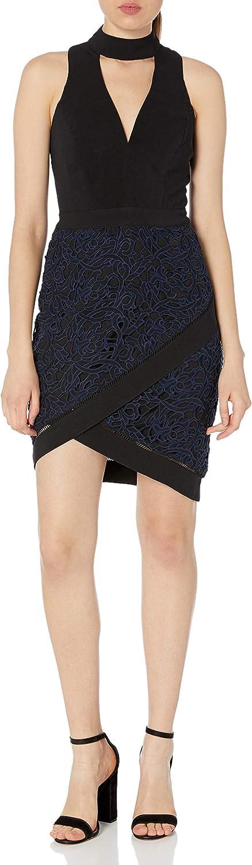 Adelyn Rae Women's Sasha Woven Mock Neck Sheath Dress W/Lace