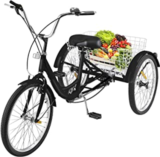 MOPHOTO Adult Folding Tricycle, 20 Inch Wheel Folding Bicycle Trike for Unisex