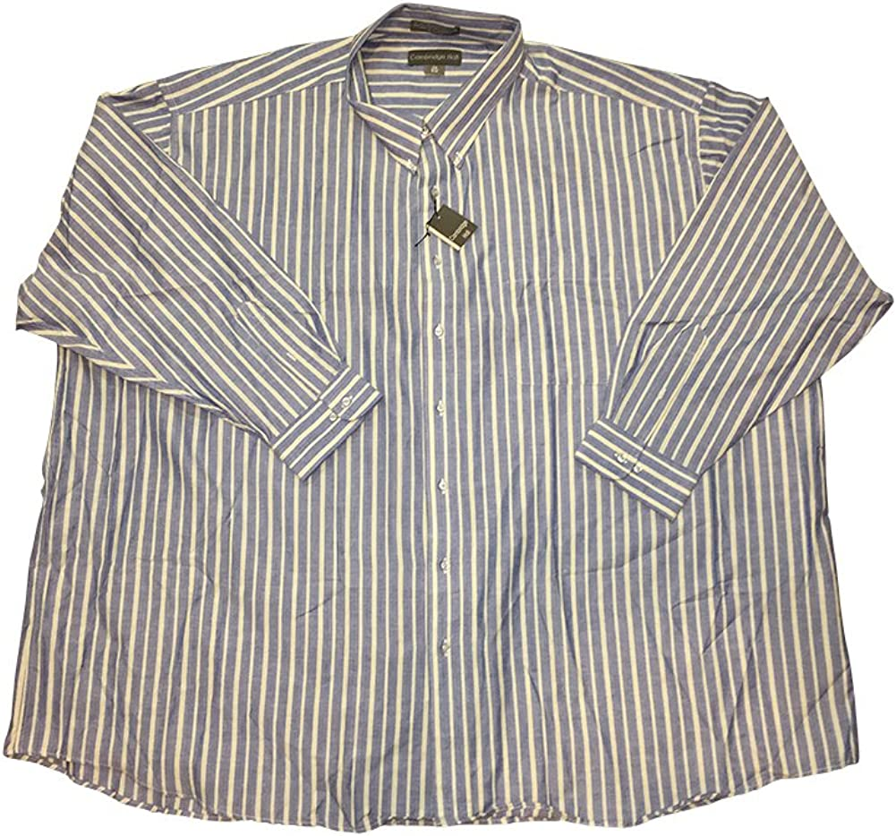 Cambridge Hall Big and Tall Striped Button Down Casual Dress Shirts