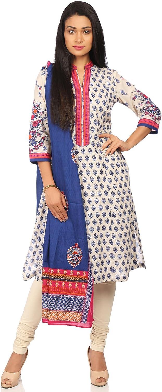 BIBA Women's bluee Cotton Salwar Kameez Dupatta