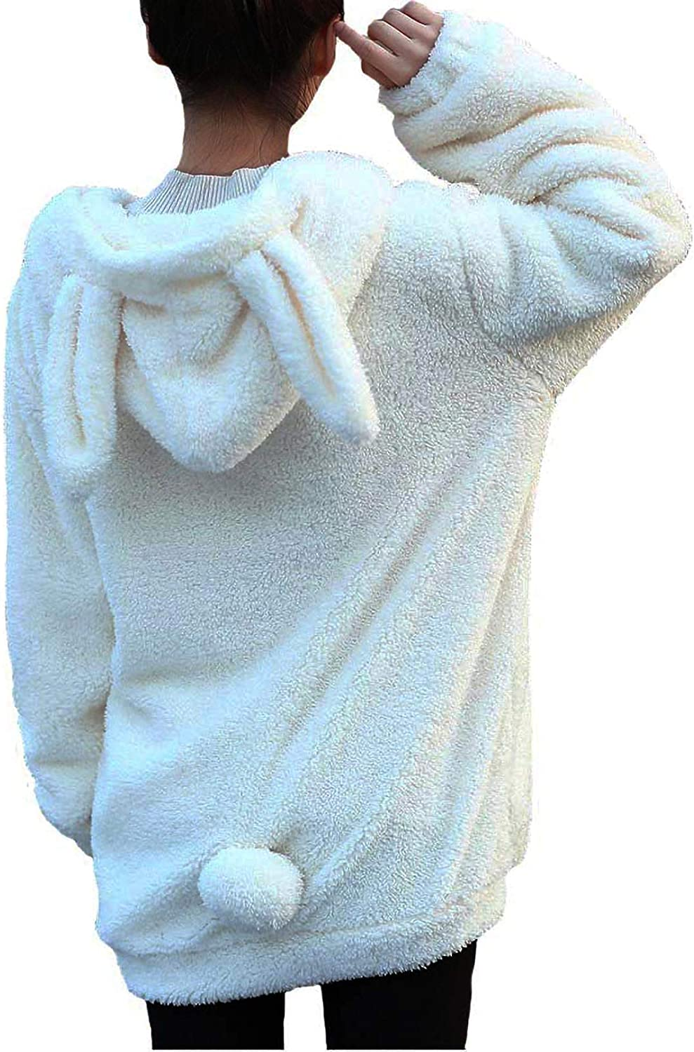 Winter Womens Fluffy Bear Max 84% OFF Tail Plush Hoodie Al sold out. Lovely Hoodies bunny