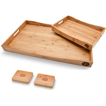 Wooden Serving Snack Block Tray Bowl Green And White Print Home Decoration