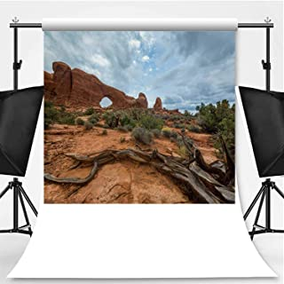 Dramatic Storm Clouds and rain in The Utah Desert Photography Backdrop,Arches National Park for Video Photography,Flannelette:6x10ft