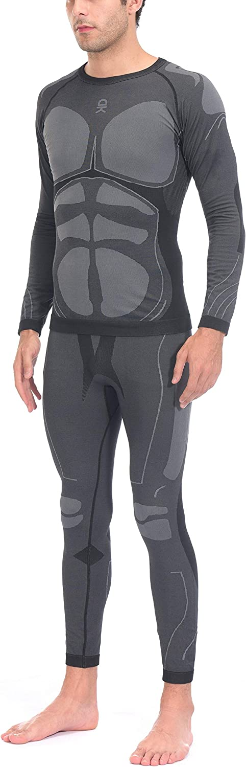 Little Donkey Andy Men's Soft Long Johns Set Thermal Underwear, Warm Knit Compression Base layer Skiing Top & Bottom