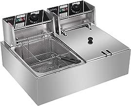 ZOKOP 12.7QT 12L Electric Countertop Deep Fryer, 5000W Dual Tank Kitchen Frying Machine, Countertop Stainless Steel French Fry w/Baskets