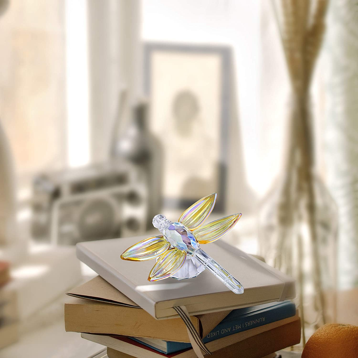 Crystal Glass Dragonfly Figurine Collectible Art Glass Animal Figurines Collection Table Decoration Gifts Pink