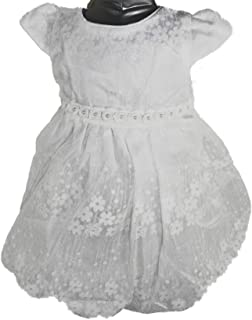 Pearl Christening Dress - White Infant Girl Baby Girl Baptism, Bridal, Party (0-6mth)