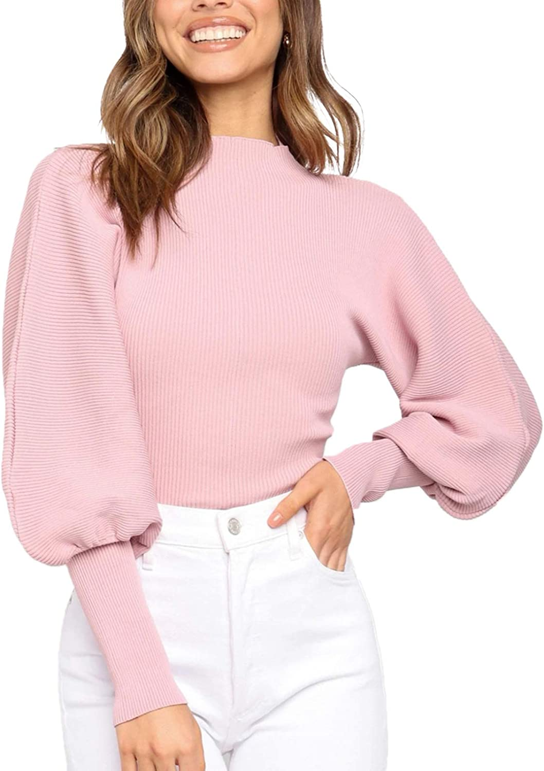 Woman Sweaters Mock Neck Lantern Batwing Long Puff Cuff Sleeve Knitted Slim Fit Cropped Short Pullover Sweaters Crop Tops