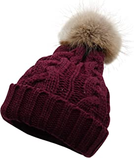 Lovful Women/Girl's Faux Fur Pom Pom Cuffed Winter Beanie Ski Hat