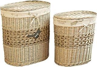 Boîte de rangement Xuan - Worth Having Oval Couvert Canapé de Linge Sale Rattan Porte-Sac de Rangement de vêtements Willow...