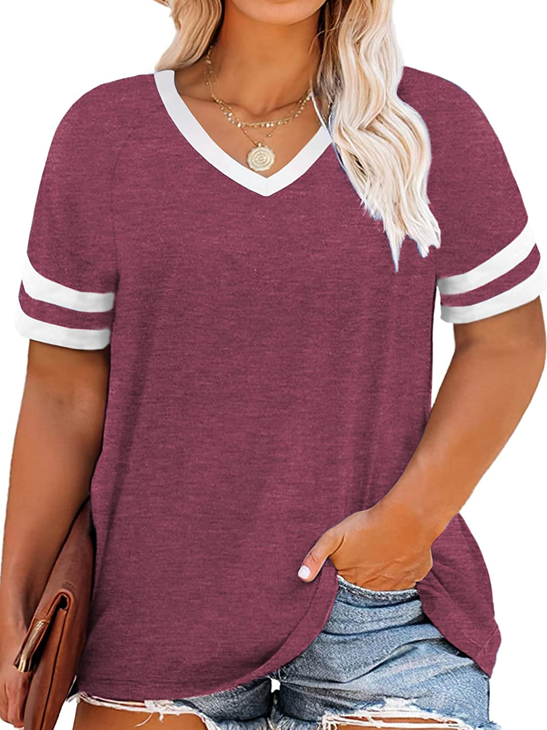 VOGRACE Womens Plus-Size Tops Striped V Short T Slee Shirts Max 65% OFF Superior Neck