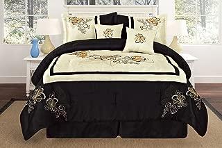Octorose Luxury Oversize Queen (90x94) Beige / Black Embroidery Comforter Bedding in a Bag Set