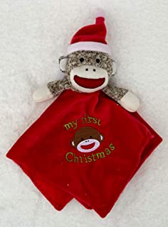 Baby Starters Sock Monkey My First Christmas Red Security Blanket Lovey