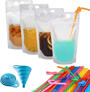 ZenFro 50-Pcs Premium Smoothie Bags with 50 Straws & a Funnel for Aduts and Kids - Disposable Plastic Drinking Pouches for Hot & Cold Frozen Drinks - Heavy Duty, Non-BPA, Zip Lock Juice Container Bags