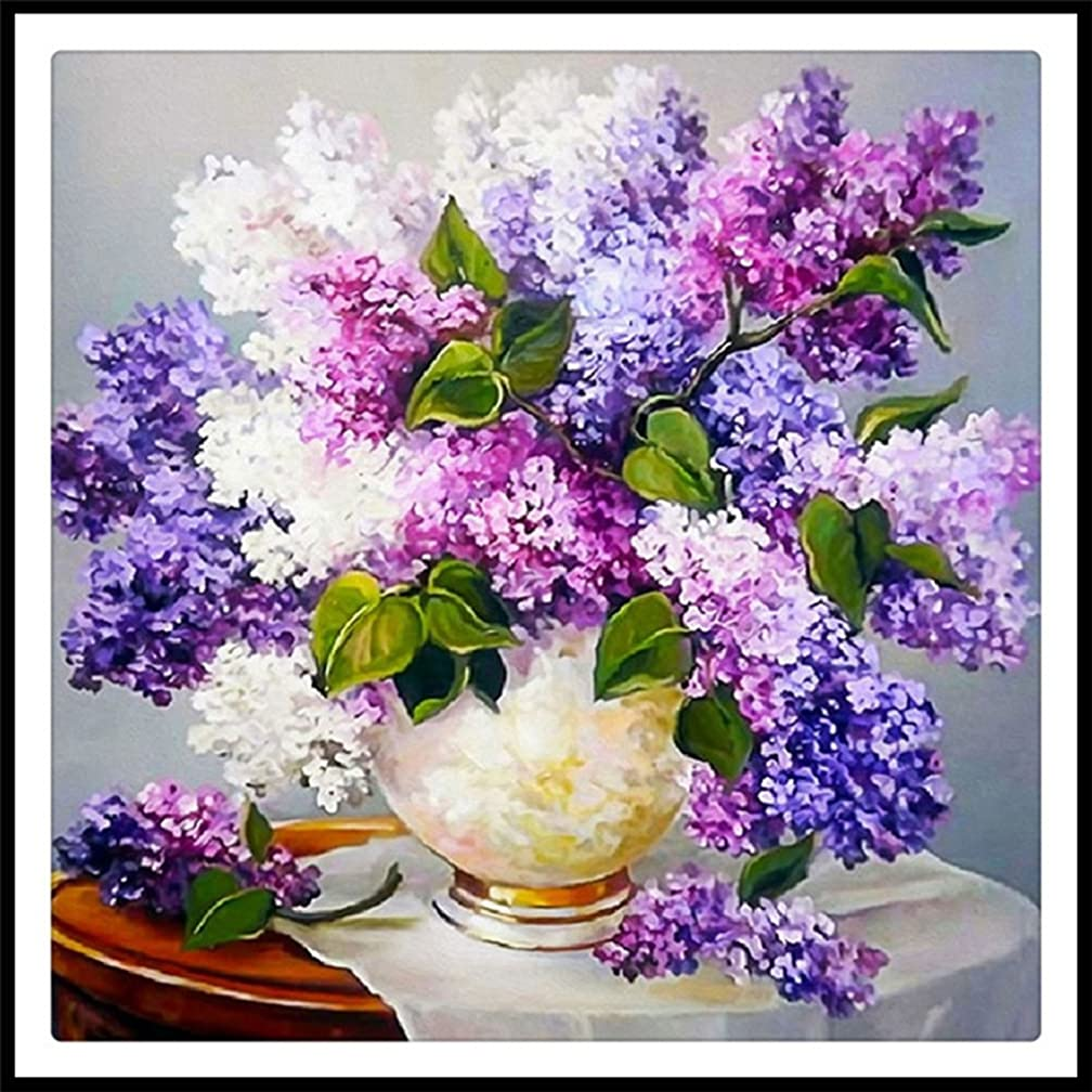 5D Full Drill Diamond Painting Kit Square Rhinestone Lavender Flowers DIY Embroidery Arts Craft Adults' Children's Paint Kits Cross Stitch for Home Decoration 16X16 inch (Lavender Flower)