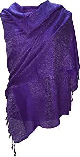 Large Soft Silky Pashmina Shawl Silver Thread Wrap Scarf in Solid Colors Fashion Fringe