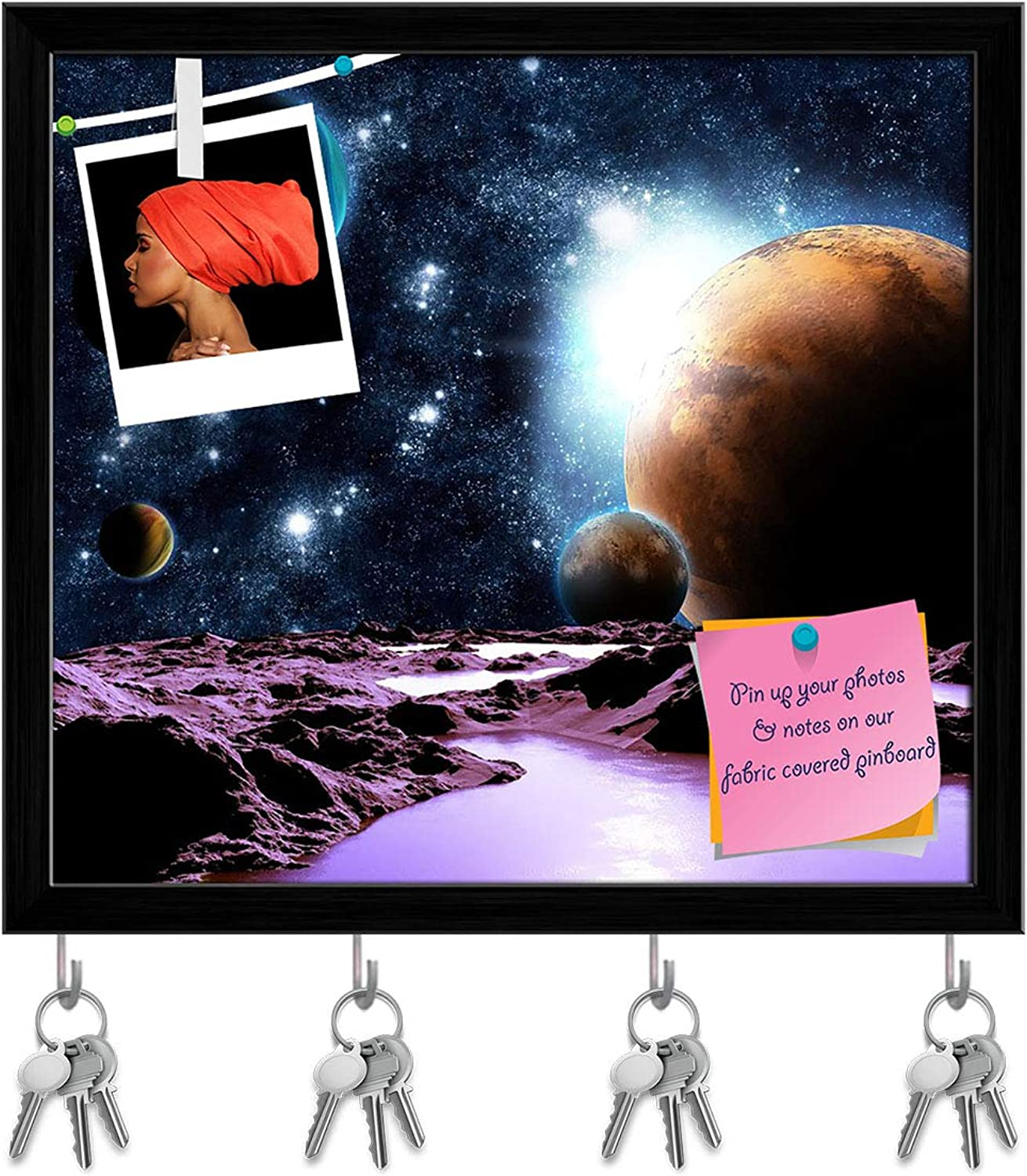 Artzfolio Abstract Planet with Water Key Holder Hooks   Notice Pin Board   Black Frame 6.5 X 6Inch