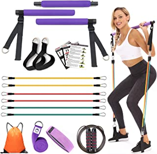 YXILEE Pilates bar Set with Resistance Bands for Women | Adjustable Pilates Stick | Yoga Strap | Jump Rope | Hip Band | Gym Bag | Workout Guide for Full Body Workouts