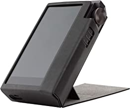 for Astell&Kern KANN Cube , Handmade Miter PU Leather Case Cover [Patented Stand Case] Kann Cube Case (Light Black)