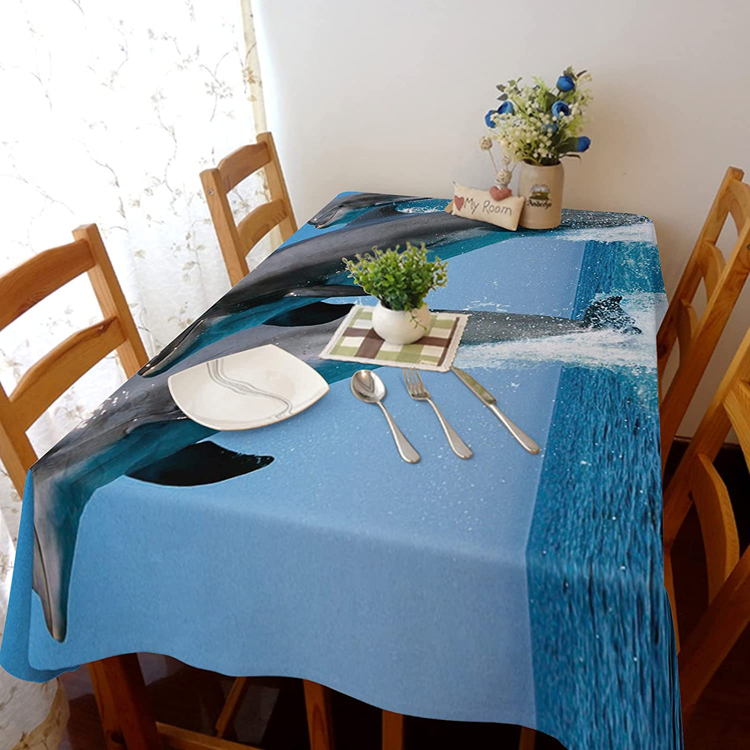 Flouky Rectangle Table Covers Funny A Ranking TOP6 3D Pattern Dolphin shop Animal