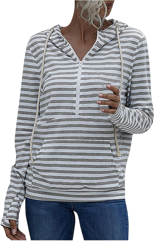 YRAETENM Women's Striped Hoodies Sweatshirt Long Sleeve Shirts Half Zip Up Hooded Plus Size Fall Winter Blouse