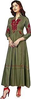 Ladyline Long Womens Silk Maxi Dress 2 Piece with Bell Sleeves Floor Length Kurti Kurta Anarkali Bollywood