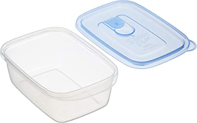 岩崎工業 日本製 抗菌 食品保存容器 スマートフラップ角型 ライトブルー M 610ml 3個組 A-041 LB