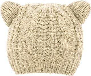 Luxspire Women Cute Cat Ear Hat Ski Knit Cap Chunky Crochet Beanies
