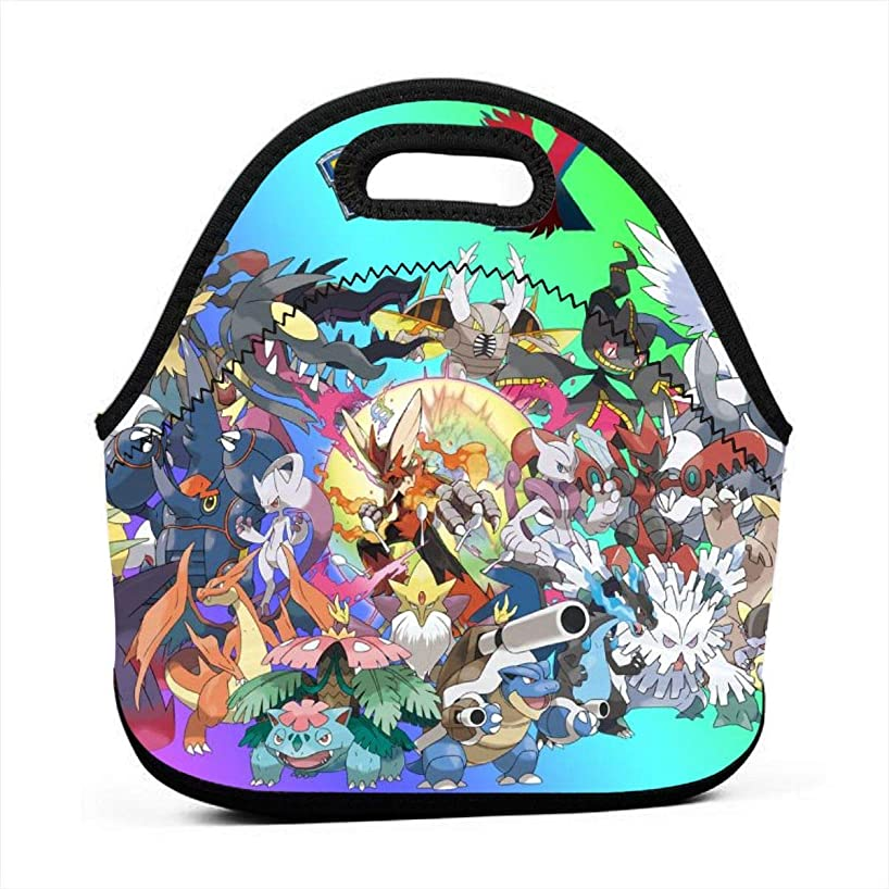 Poke-mon Xy Neoprene Lunch Bags,Lunch Box,Lunch Tote Boxes,Insulated Lunch Bag Travel Organizer For Women Men Kids Boys Girls